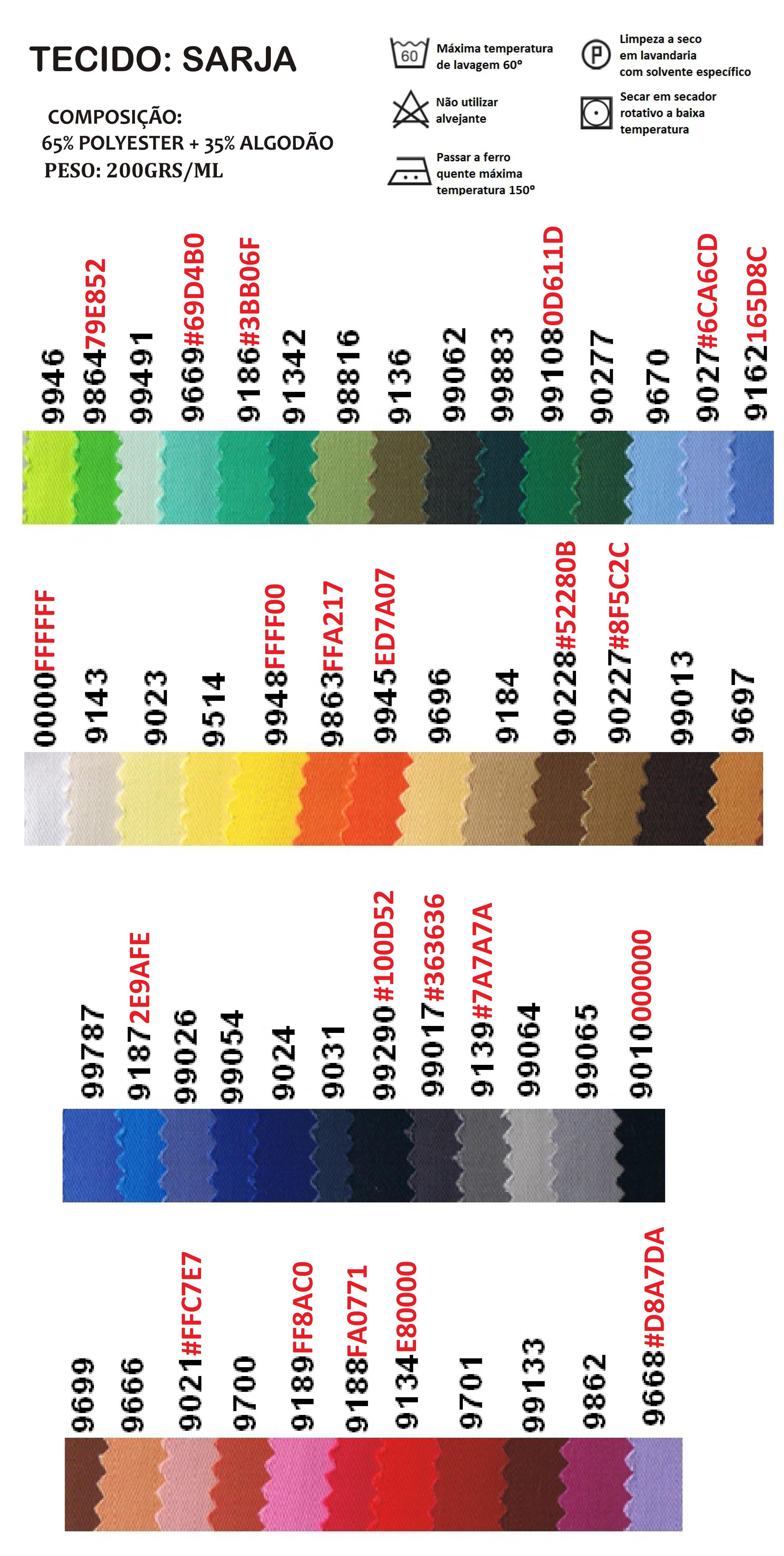 Tabela de cores SARJA